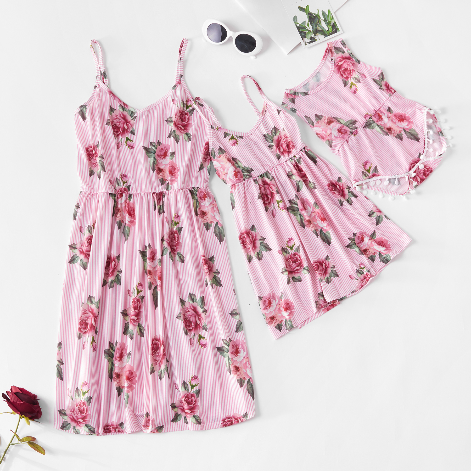 Tank Flower Mum Mother And Daughter Dresses Mom Mama Baby Girls Dress Mommy And Me Clothes Family Matching Clothes Look Outfits