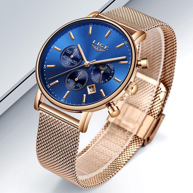 Image 4 - LIGE Women Fashion Gold Blue Quartz Watch Lady Mesh Watchband High Quality Casual Waterproof Wristwatch Moon Phase Clock Women-in Women's Watches from Watches