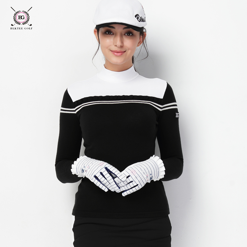 Golf clothing women's long-sleeved T-shirt ladies autumn and winter golf warm knitted collar sweater For Women simple style buttoned stand collar solid color long t shirt for women