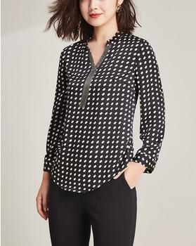 2019 new fashion 100%polyester soft smooth thin fabrics women dots print tshirts Vneck full sleeve tees large size L-6XL