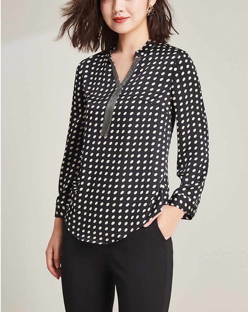 2019 nueva moda 100% poliéster suave telas finas mujeres puntos impresión camisetas Vneck manga larga Camisetas talla grande L 6XL