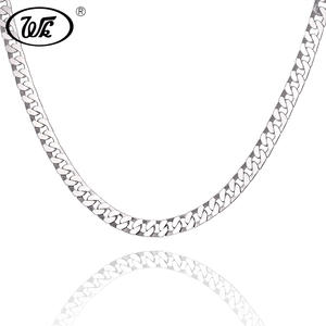 WK Male 925 Sterling Silver Men Necklace Chains Jewelry