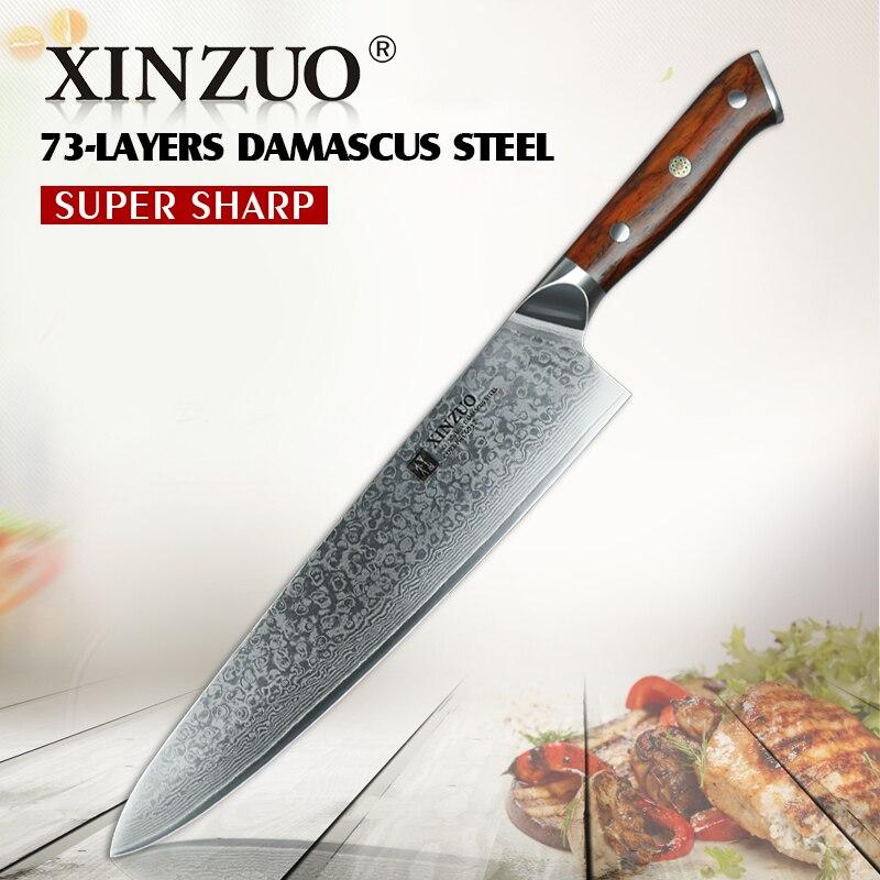 XINZUO 10 ''pouces Damas Couteau de Chef Japonais Cuisine En Acier Couteaux Professionnel Gyuto Couteau Cuisine Cleaver Viande Légumes Outils