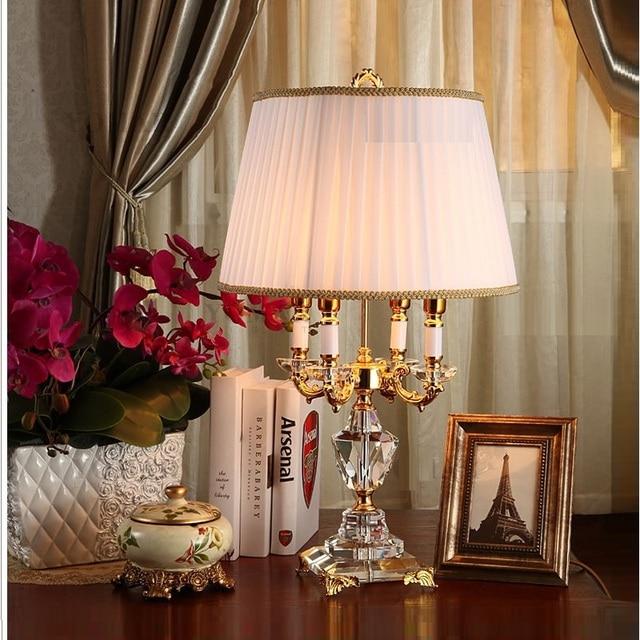 Pha Lê hiện Đại Đèn chiếu sáng phòng ngủ đèn ngủ thời trang cao cấp đèn bàn pha lê Abajur đầu giường khách sạn Đèn bàn K9 Cao Cấp