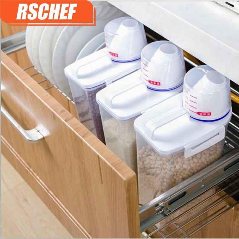 RSCHEF 1pcs Plastic Kitchen Food Cereal Container Grain Storage Case Bean Bin Rice Storage Box