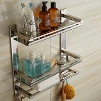 Vidric DIY Bathroom Shelves 304 Stainless Steel 3 Layer Cosmetic Rack Toothbrush Mouthwash Holder Towel Rack With Hooks Storage
