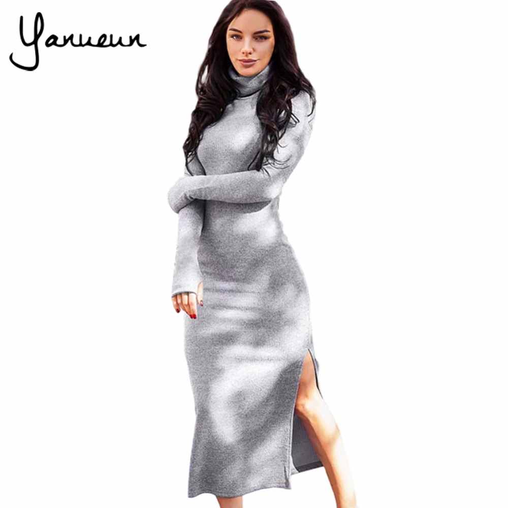 Yanueun 2017 Autumn Winter Women High Street Slim Split Sexy Long Sweater Dress Female Long Sleeve Turtleneck Knitted Dresses