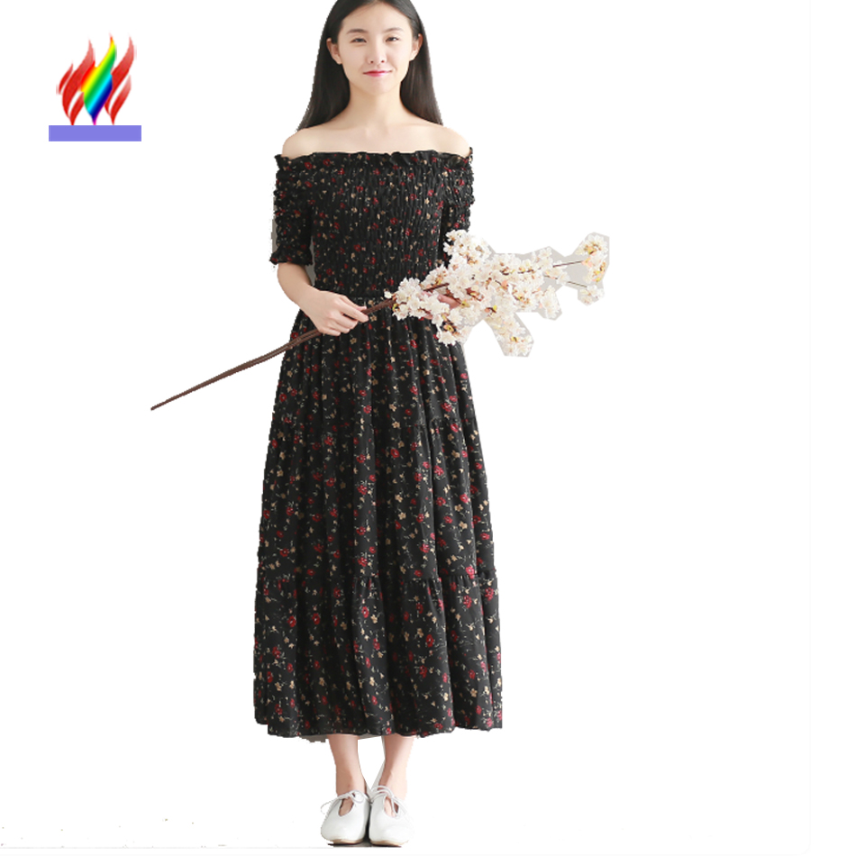 Long Vintage Dresses Cute Japanese Clothes Summer Women Casual Sweet Floral Printed Ladies A Line Black White Off Shoulder Dress girl