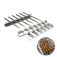 BBQ Accessories Tools Stainless Steel BBQ Skewers Barbecue Fork 14inch 14cm Kebab Grills Kabob Rack With 6 Wide Skewers 6 pc