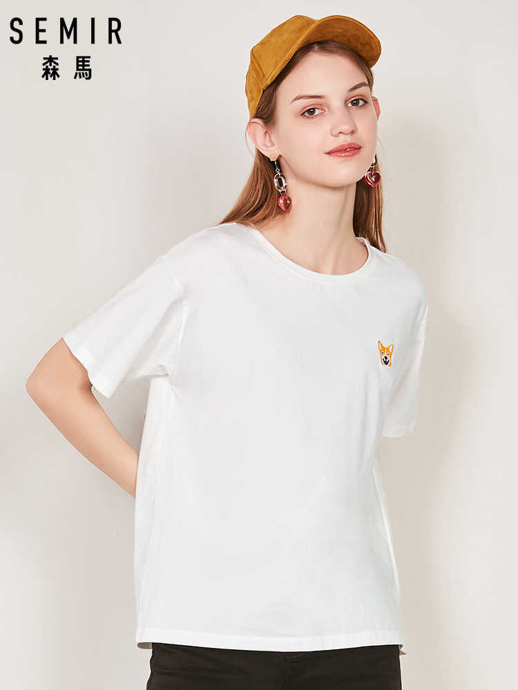SEMIR 2019 Camiseta Femme Top Moda Legal Impressão Fêmea T-shirt de Algodão Branco Mulheres Tshirts Verão Harajuku Casuais