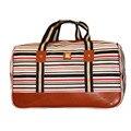 2017 Do Vintage Grande Capacidade de Saco De Viagem Mulheres Bagagem Sacos de Duffle Bag bolsas de viaje Dropship Dos Homens PU Couro Listrado L481