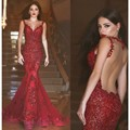 Mermaid African Long Mermaid Evening Dresses Burgundy Sleeveless Sexy See Through Back Party Prom Gown Custom Made