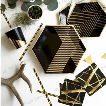 16 Sets Black and gold party supplies Hexagon Paper Plates Cups Napins Straws  New Year's Eve Birthday Party Tableware