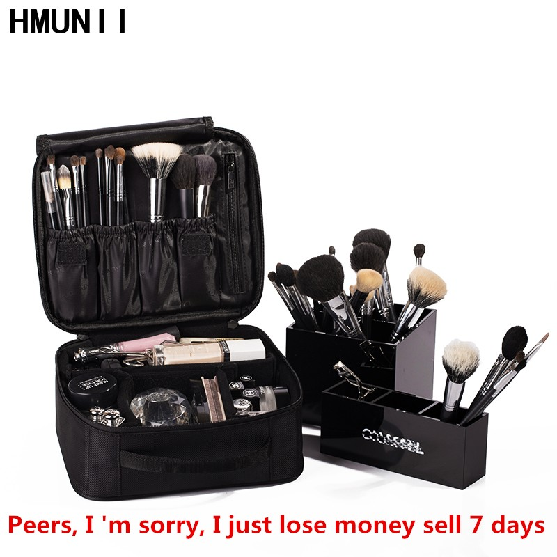 HMUNII Brand Women Cosmetic Bag High Quality Travel Cosmetic Organizer Zipper Portable Makeup Bag Designers Trunk Cosmetic Bags high quality women classic makeup bag phone cases zipper organizer storage bags day clutches