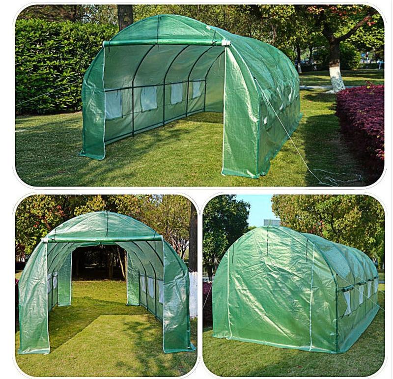 Ev ve Bahçe'ten Tarım Seraları'de Bahçe Malzemeleri 6m x 3m x 2m Yeterince Güçlü 36 kg/set Büyük Sera Tüneli çadır iki kapı pencere kemer yalıtım örtüsü'da  Grup 3