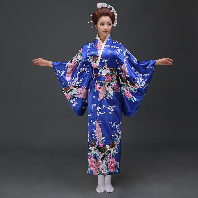 Blue Vintage Japanese Women's Kimono Satin Bath Gown Yukata Dress With Obi Clothing Peafowl One Size WK004