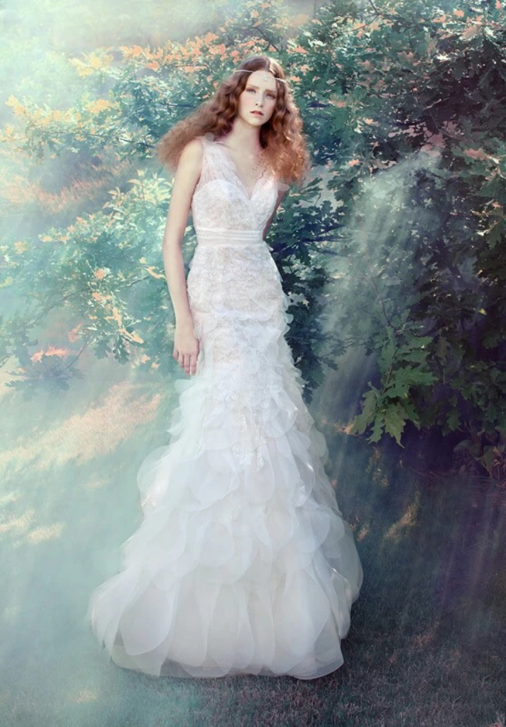 2016 New Style Grace and Fantasy V Neck Tulle Wedding Dress Charming ...