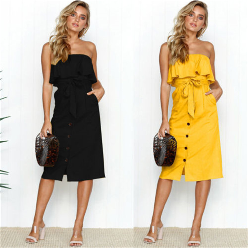 98f8e01de9 Detail Feedback Questions about New Women s Off shoulder Ruffles Dress Lady  Pure Color Button Short Summer Dress Female Party Beach Holiday Mini Dresses  ...