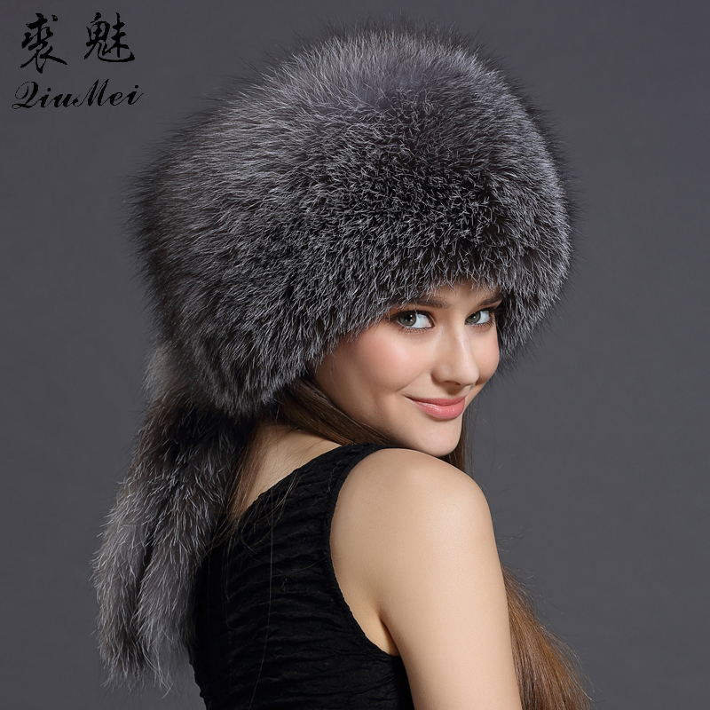 Real Fox Fur Winter Hats Bombers For Women Winter Luxury Trapper Hat Caps Russian Genuine Fox Fur With Rabbit Fur Top Hat Bomber