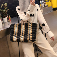 Stripe pattern straw beach bag travel vacation shoulder fashion handbag hand-woven high-capacity