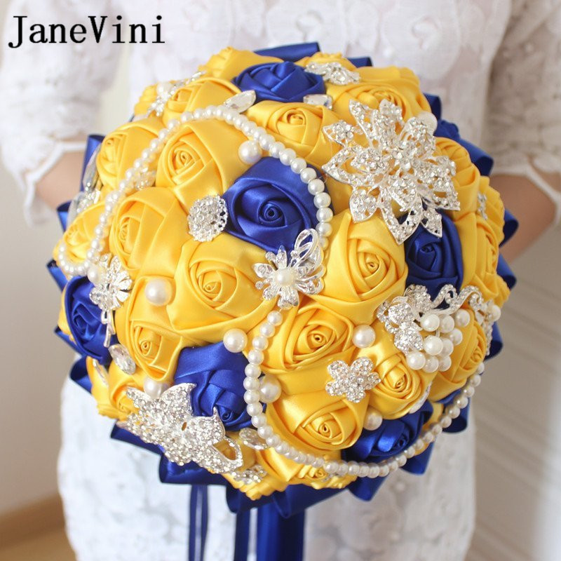 JaneVini Fleur satijn geel en koningsblauw bruiloft broche boeket - Bruiloft accessoires