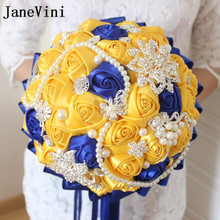 JaneVini Fleur Satin Gul och Royal Blue Wedding Brosch Bouquet Bride Diamond Crystal Pearl Ribbon Rose Crystal Bridal Bouquet