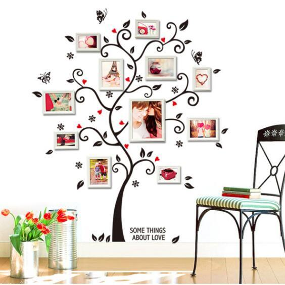Romantic Happy Frame Tree Family tree PVC Wall Stickers Living Room TV/Sofa Background Marriage room Home Decor Mural Decal