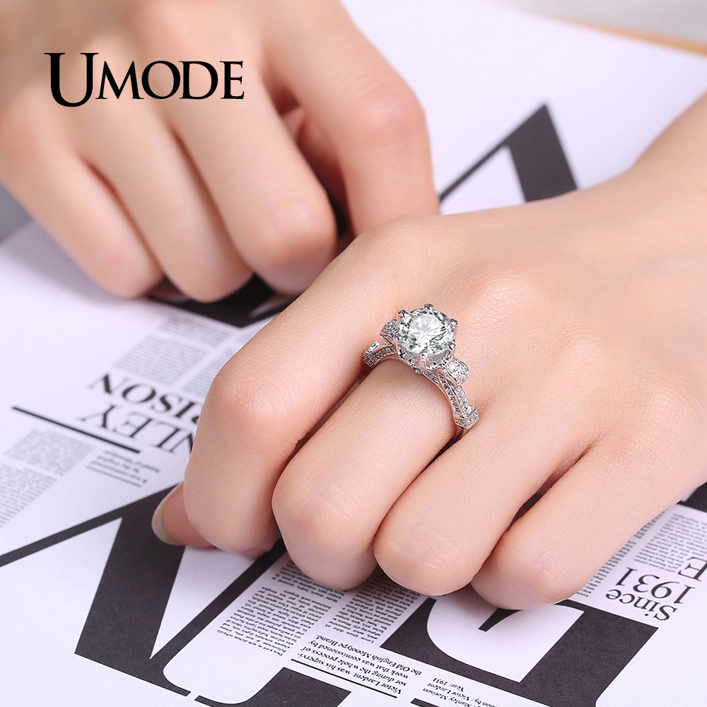 UMODE Unique Charm Big Round CZ Stone Solitaire Engagement White ...