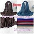 Jersey Hijabs Xales E Cachecóis Xale Simples Tipo Macio E Elasticidade Strech, Cachecol magia, 2015 Chegada Nova, 21 cores