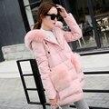 Большой Меховой Воротник Пальто Женщин С Меховым Карман Slim Fit Леди Зимние Толстые Теплые Куртки Ватные Наряды Синий Розовый Серый