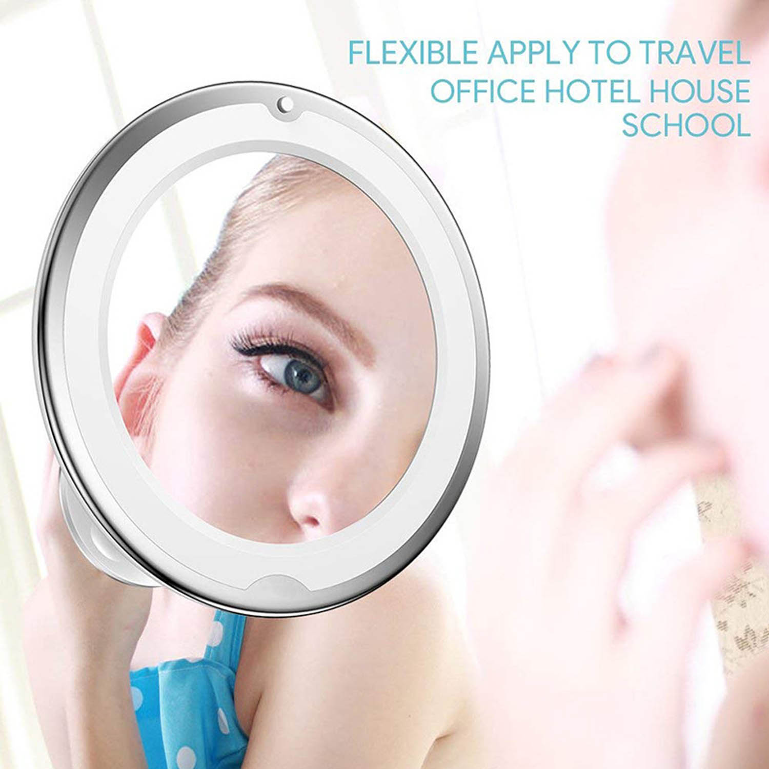 360 Degree Rotation LED 10x Magnification Makeup Mirror with Suction Cup for Bedroom Bathroom Dressing Table Makeup Room 3
