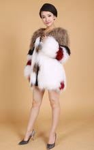 New real genuine natural Female fashion fur coat women's knitted raccoon fur outerwear ladies knit overcoat jacket