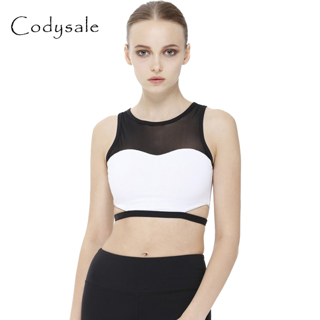 Codysale Women Sexy Patchwork Bra Mesh Hollow-out Bras Vest Fitness Shockproof Crop Top One-Piece Push Up Underwear Quick Dry