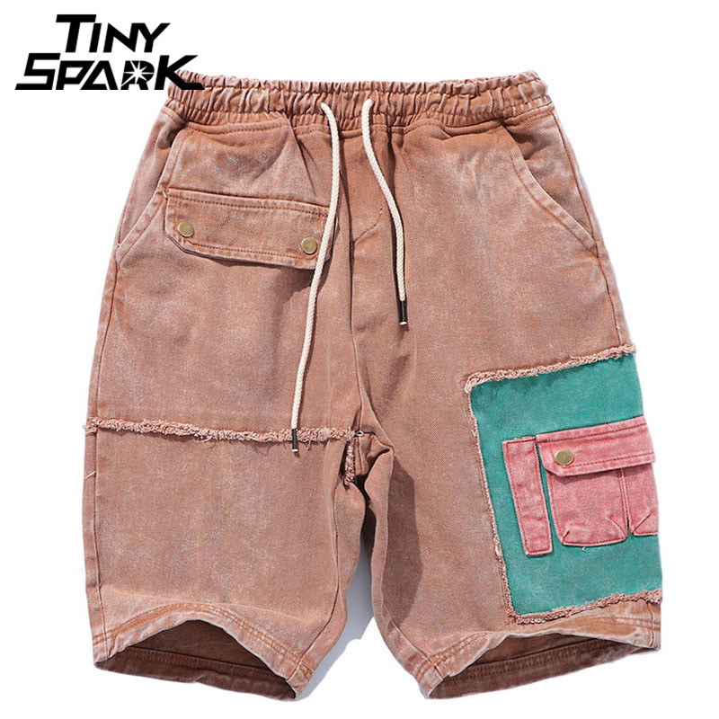 Hip Hop Cargo Short Color Block Patchwork Ripped Denim Short Pocket Mens Casual Elastic Waist Shorts Streetwear New 2018 Summer