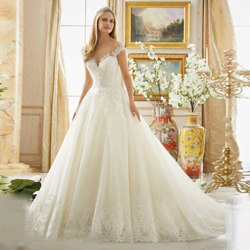 Romantique Robe De Bal de Bonne Qualité Dentelle À Paillettes Sheer Décolleté Robe De Mariée Robes De Mariée mère de la mariée robes