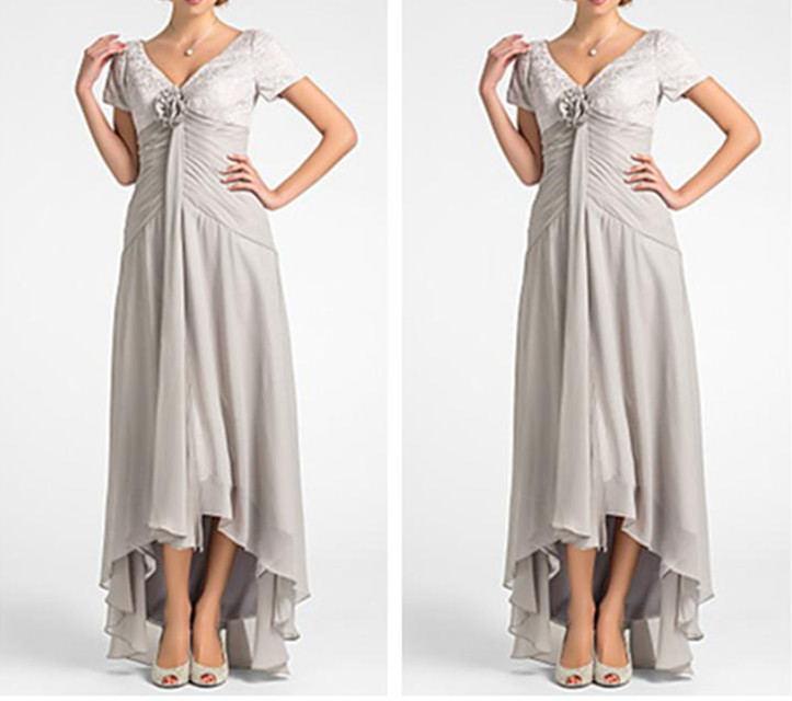 Elegant 2019 A-line V-neck Asymmetrical Lace And Chiffon Farsali Mother Of The Bride Dresses Chiffon Lace Flowers High Quality Jade White