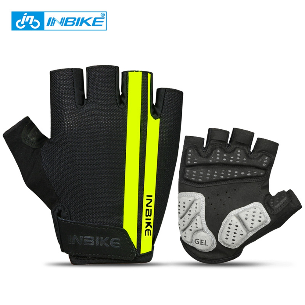 INBIKE Cycling Gloves Half Finger Anti Slip Gel Pad Breathable Motorcycle MTB Road Bike Gloves Men Women Sports Bicycle Gloves a pair of fashion style outdoor sports cycling non slip breathable half finger gloves
