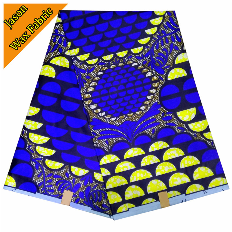 Guaranteed real wax cloth 100% Polyester African super wax blue&yellow color prints fabric 6yards/lot for dress LBL