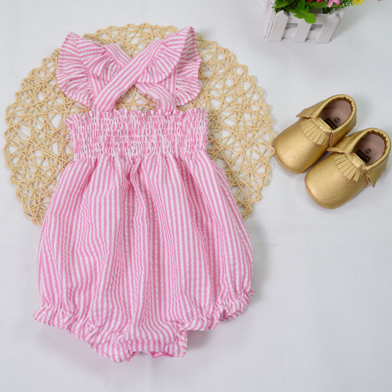 14c9a4fd7 2016 summer Girl Romper striped Baby girl clothes cotton Baby kids jumpsuit  Baby Rompers pink fly sleeve newborn girls body suit