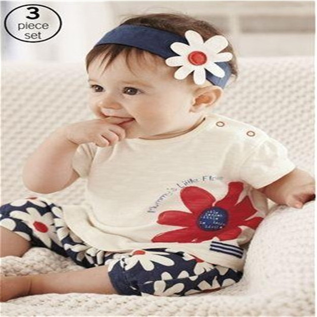 2016 New arrival Baby suit Girl's summer clothing sets kids wear : hair band + flowers short sleeve + pants