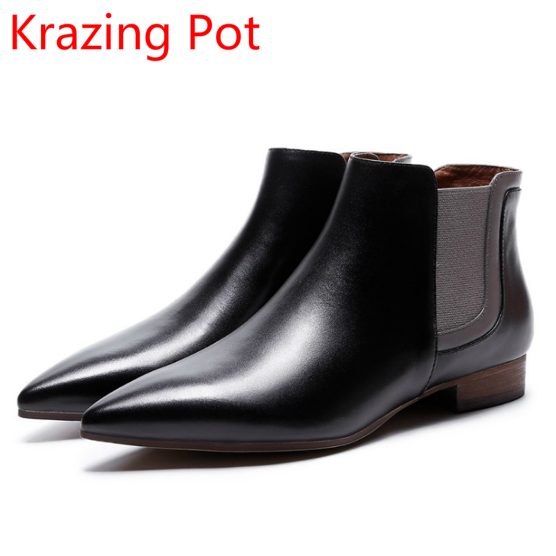 2018 New Arrival Genuine Leather Pointed Toe Slip on Thick Heels Chelsea Boots Superstar Fashion Boots Handsome Ankle Boots L1f  new arrival genuine leather pointed toe fashion winter boots rivets thick heel slip on chelsea boots handmade ankle boots l93