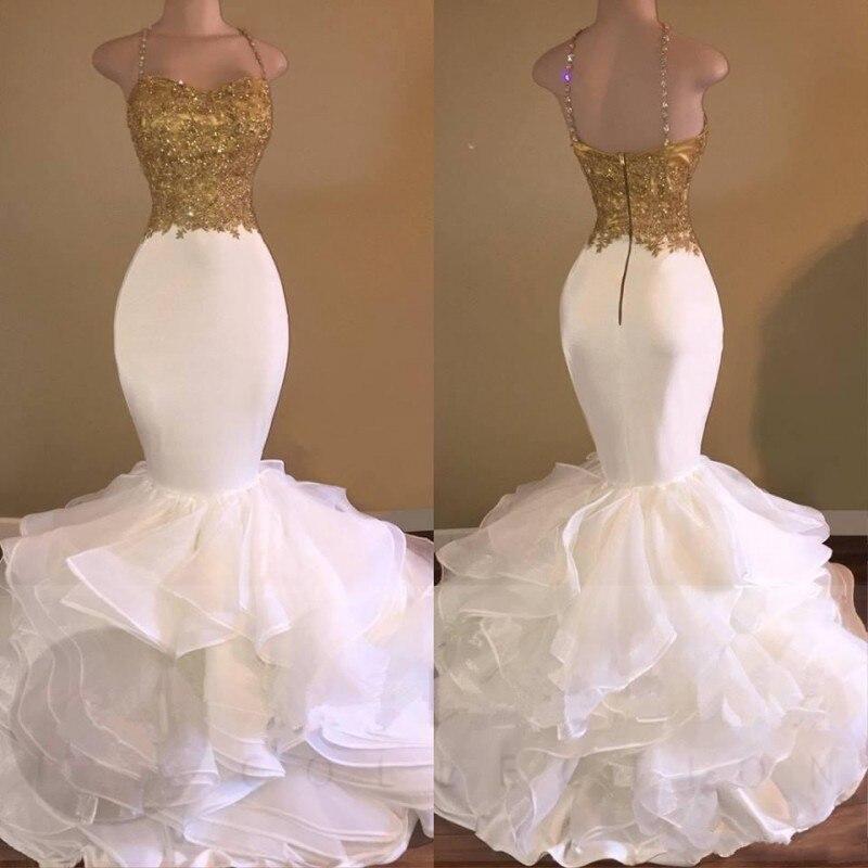 Sexy mermaid white gold wedding dresses spaghetti strap tiered sexy mermaid white gold wedding dresses spaghetti strap tiered bridal gowns african wedding dress women formal dress in wedding dresses from weddings junglespirit Gallery
