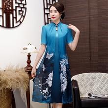 Vintage Short Sleeve Women Aodai Dress Chinese Traditional Print Floral Qipao Oversize 3XL Rayon Mandarin Collar Cheongsam crane print mandarin collar dress