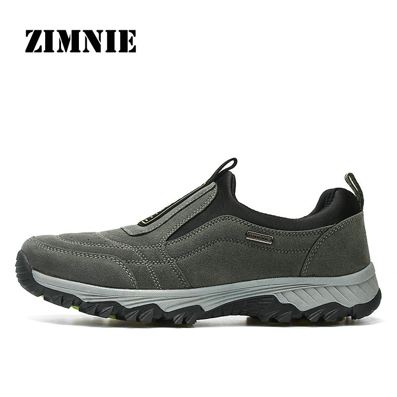 ZIMNIE Genuine Leather Outdoor Shoes Men Sports Hiking Shoes Trainers Climbing Trekking Shoes Slip On Hiking Shoes Size 39~45