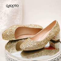 2019 Women Shoes Spring Autumn Mary Jane Pumps Slip On Square Low Heels Fashion Sequined Party Laides Shoes Gold Silver Red