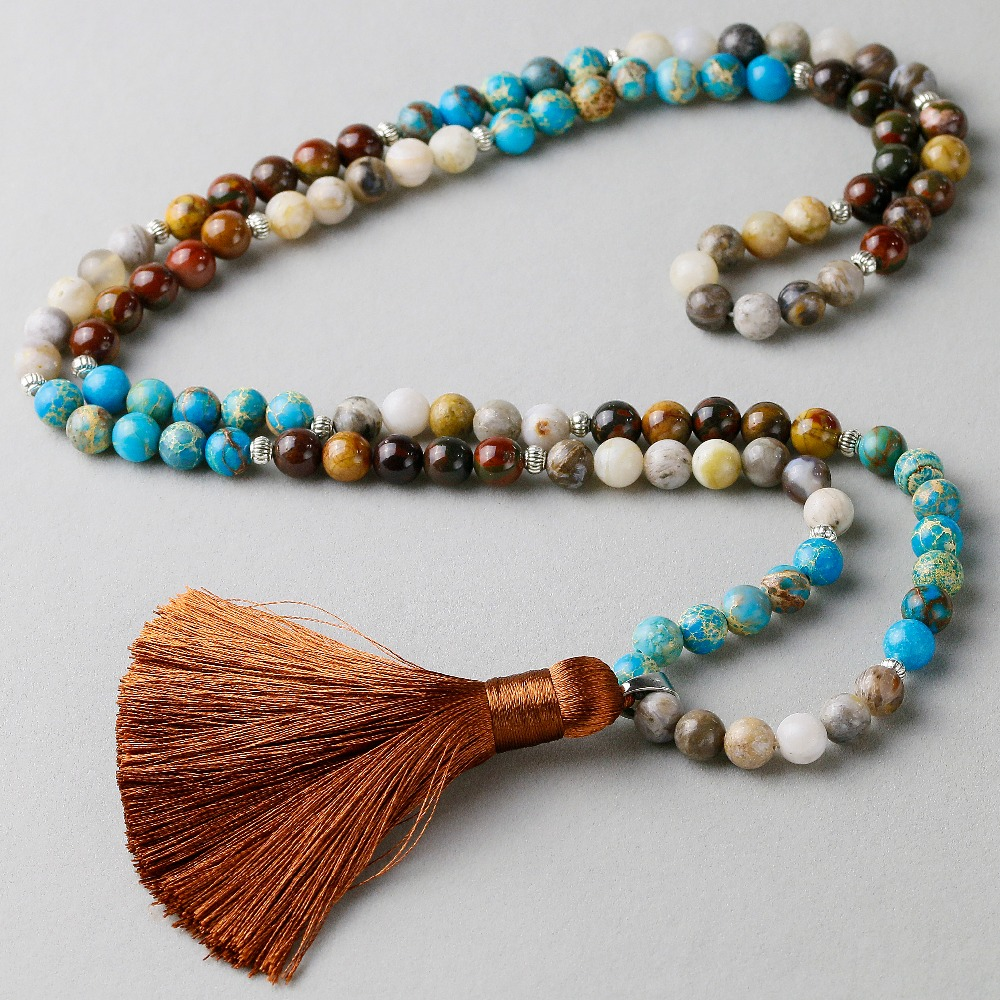 Natural Blue Imperial stone With Red creek Stone Bamboo Onyx Beaded Stone Tassel Charm Necklace Women Men 108 Mala Jewelry