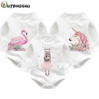 Unicorn Print Baby Girl Bodysuit Infant Jumpsuit Overall Long Sleeve Newborn Baby Girl Clothing Autumn Girls Baby Casual Clothes