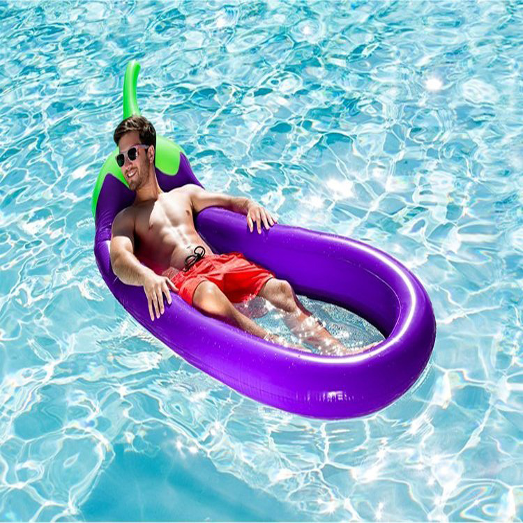ФОТО 250*100cm Giant Inflatable Eggplant Mesh Pool Float Swimming Board Inflated Floating Mattress Water Toys Fun Raft Air Bed