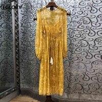 100% Silk Dress 2019 Spring Summer Luxurious Women's Dress Vintage Print Tassel Belt Patchwork Long Sleeve A Line Yellow Dress