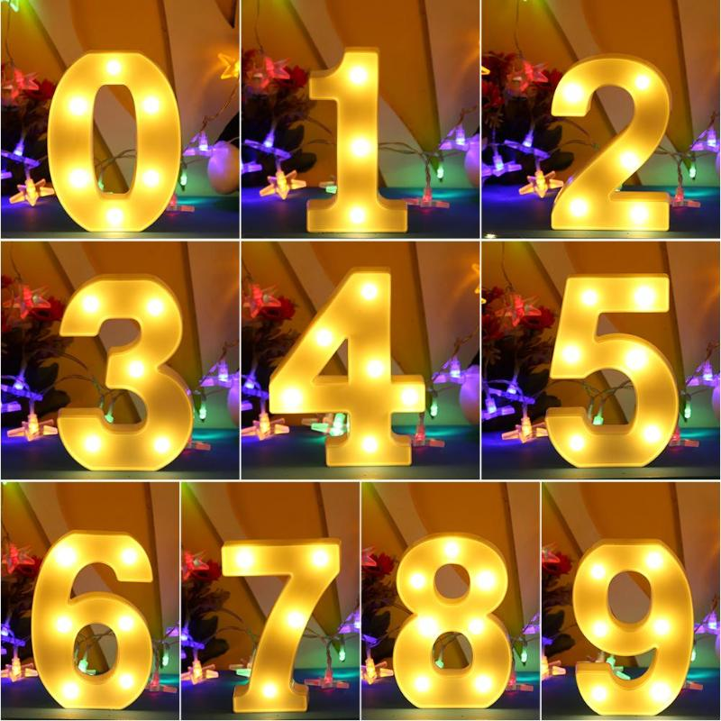3D White Number LED Light Marquee Sign Indoor Wall Hanging Night Lamp Bedroom Wedding Birthday Party Decor